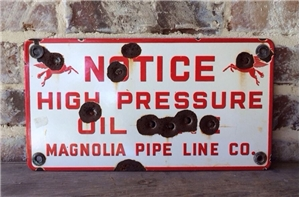 Original Vintage Magnolia Porcelain Metal Sign Pegusas Horse Oil Gas Pipe Line