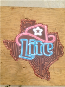 "Large Texas Miller Lite Beer Tin Metal Sign 37"" Marked Miller Brewing 57-24174DS"