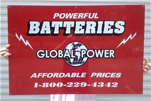 Vintage Powerful Batteries Global Power Double Sided Metal Tin Sign