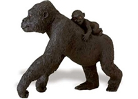 Wild Safari Wildlife Lowland Gorilla Female With Baby Toy Model