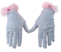 Rose Applique Gloves by Schylling, little girls gloves, pink and white small gloves, pretend play