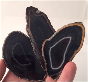 Small Agate Slab Polished- Black/Brown
