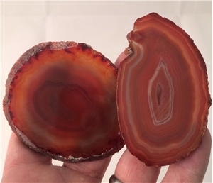 Small Agate Slab Polished- Burnt Orange