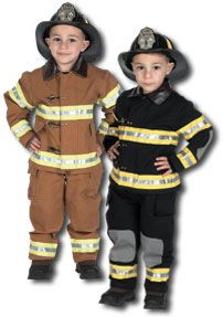 Jr. Fire Fighter Suit Tan color with Hard Helmet- Small 4+6