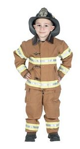 Jr. Fire Fighter Suit, (TAN) with Hard Helmet Size 12/14