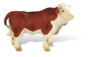 "Bullyland ""Peter"" Brown and White Bull Model Toy, cow toy, cow model, kids plastic cow replica, Bull"