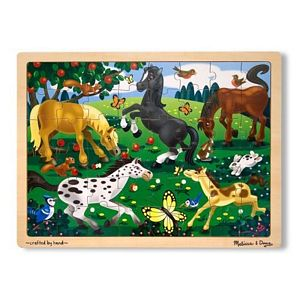 Melissa and Doug Fresh Start 48 Piece Wooden Jigsaw Puzzle-Horses, horses puzzle, kids horse puzzle