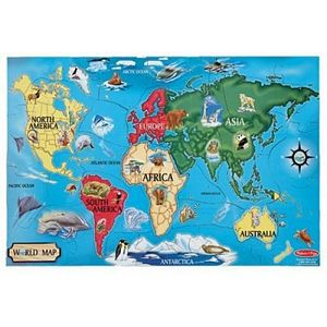 Melissa and Doug World Map Floor Puzzle 33 Pieces - kids floor puzzle