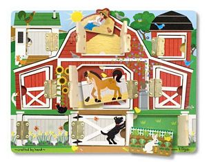 Melissa and Doug Hide & Seek Farm, hinged doors farm puzzle, improving memory and fine motor skills
