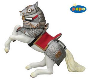 Papo Reared Up Armored Horse Red Toy Model
