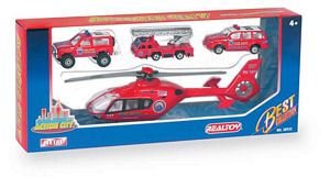 Action City Fire Helicopter W/3 Vehicles - Die Cast/Plastic