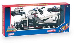 Action City Police Wrecker W/3 Vehicles - Die cast/plastic