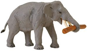 Wild Safari Wildlife Asian Elephant with Log Toy Model