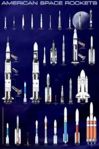 American Space Rockets Poster-Laminated Rolled and Sleeved