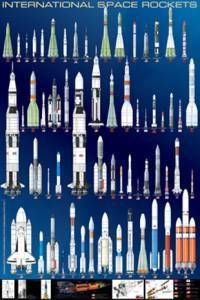 International Space Rockets Poster- Laminated Rolled and Sleeved