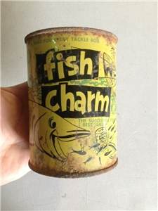 Vintage Fish Charm Tackle Box Tin Metal Can Freezit Dallas Tx
