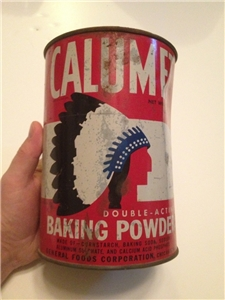Vintage Calumet Baking Powder Tin Metal Can Indian Logo 5 Lbs