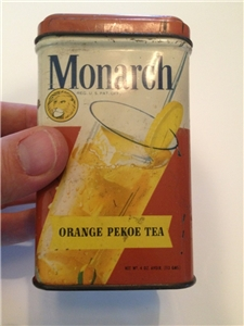 Old Vintage Monarch Orange Pekoe Tea Metal Tin 4 Oz Chicago IL