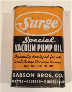 Vintage Surge Vacuum Pump Oil Collectible Metal Tin Can Babson Bros. Co