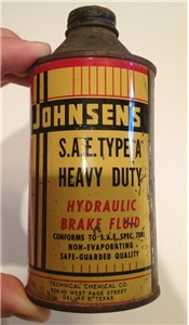 Vintage Johnsens SAE Hydraulic Brake Fluid Cone Top Metal Can Dallas Tx