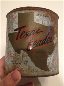 Vintage Texas Leader Coffee & Chicory Tin Metal Can Standard Coffee Co