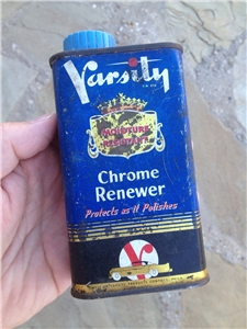 Vintage Varsity Chrome Renewer 1937 Metal Tin Can 8 Oz