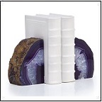 agate geode bookends polished