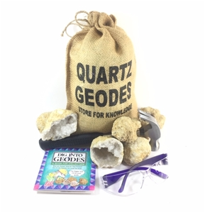 20 Break Your Own Whole Moroccan Geodes Gift Bag w/ Kids Hammer | Goggles | Book